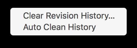 Clean History menu